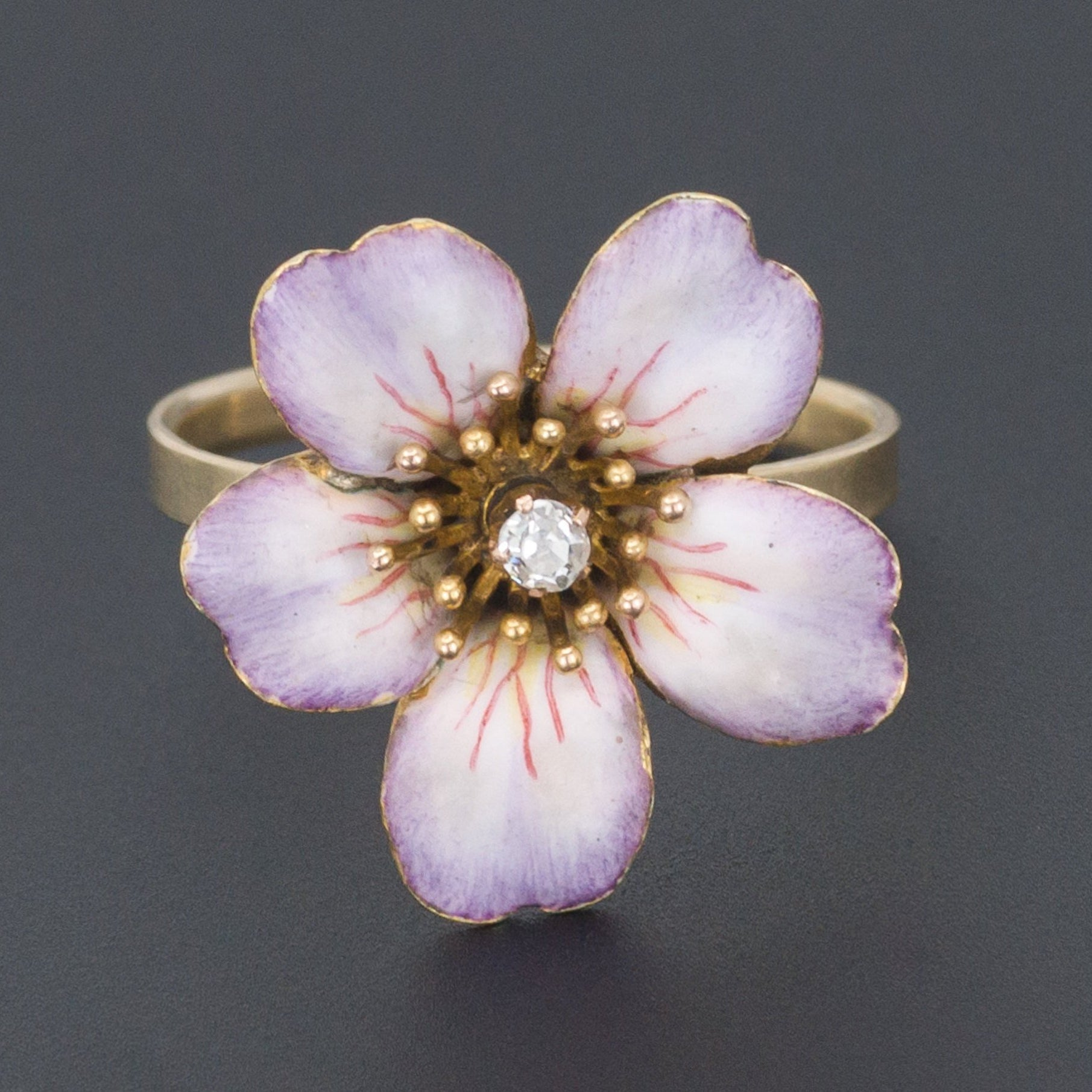 14k Gold Enamel and Diamond Flower Ring | Antique Pin Conversion Ring | 14k Gold Ring | Enamel Flower Ring | Diamond Ring
