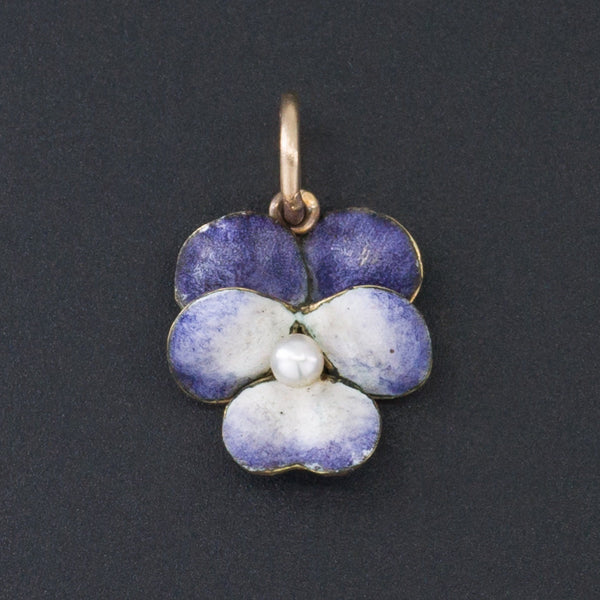 Pansy Charm | Purple Enamel Pansy with Pearl-Trademark Antiques