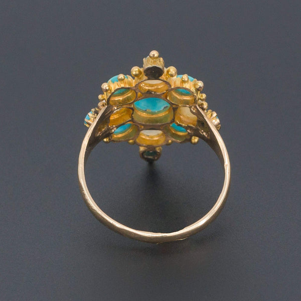 Turquoise & Pearl Ring | Victorian Ring-Trademark Antiques