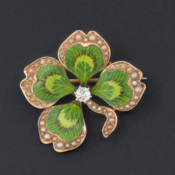 Clover Brooch or Pendant | Antique Enamel Clover Brooch-Trademark Antiques