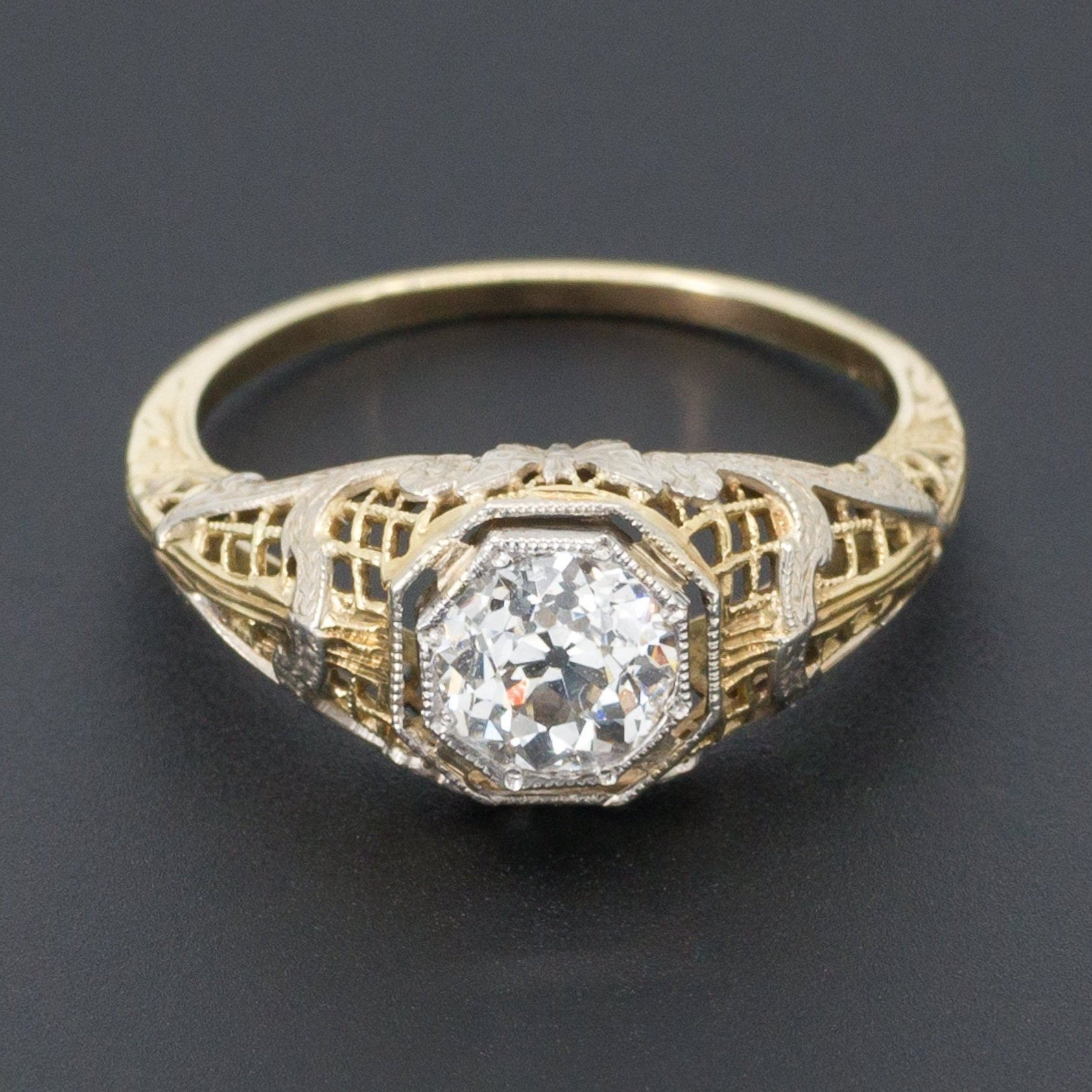 Vintage Engagement Ring | Butterfly Engagement Ring | Filigree Diamond Ring | Yellow & White Gold Filigree Ring