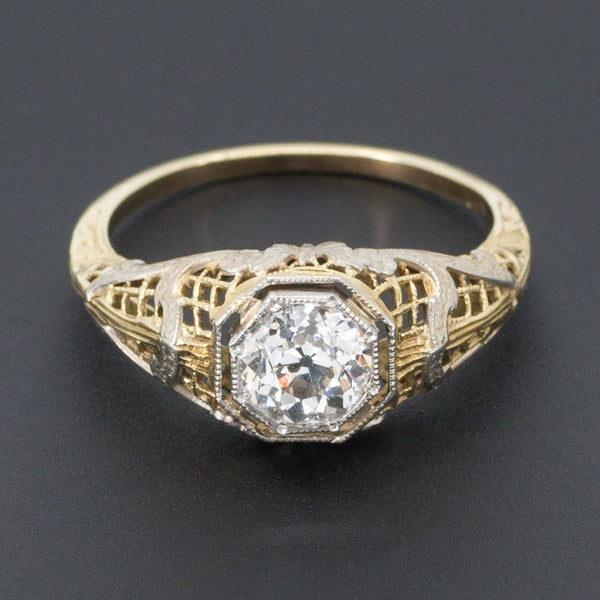 Vintage Engagement Ring | Butterfly Engagement Ring-Trademark Antiques
