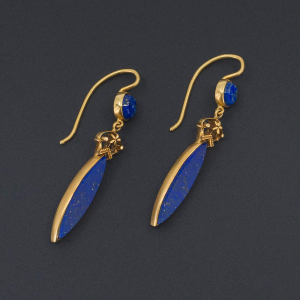 Antique Lapis Lazuli Earrings | 14k Gold Earrings-Trademark Antiques