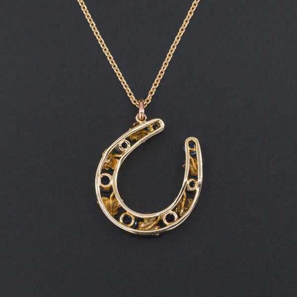 Sapphire Horseshoe Pendant | Antique Pin Conversion | 14k Gold Pendant on Optional 14k Chain | Antique Horseshoe
