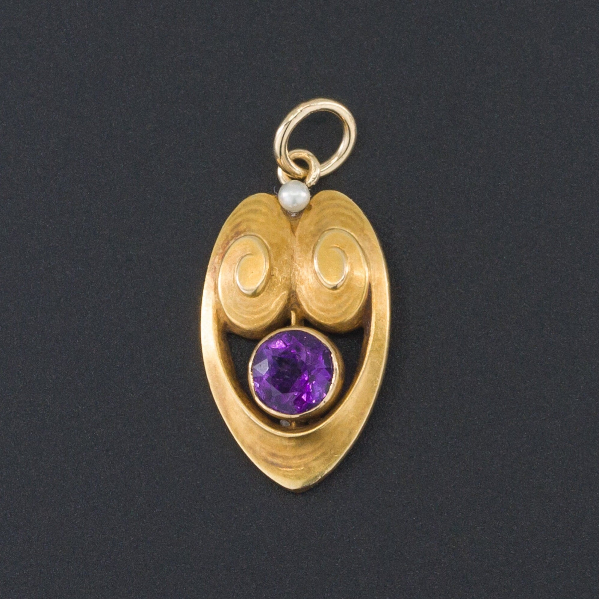 Amethyst Charm | Antique Pin Conversion Pendant | 14k Gold & Amethyst Charm | Art Nouveau Pendant | Amethyst and Pearl Charm