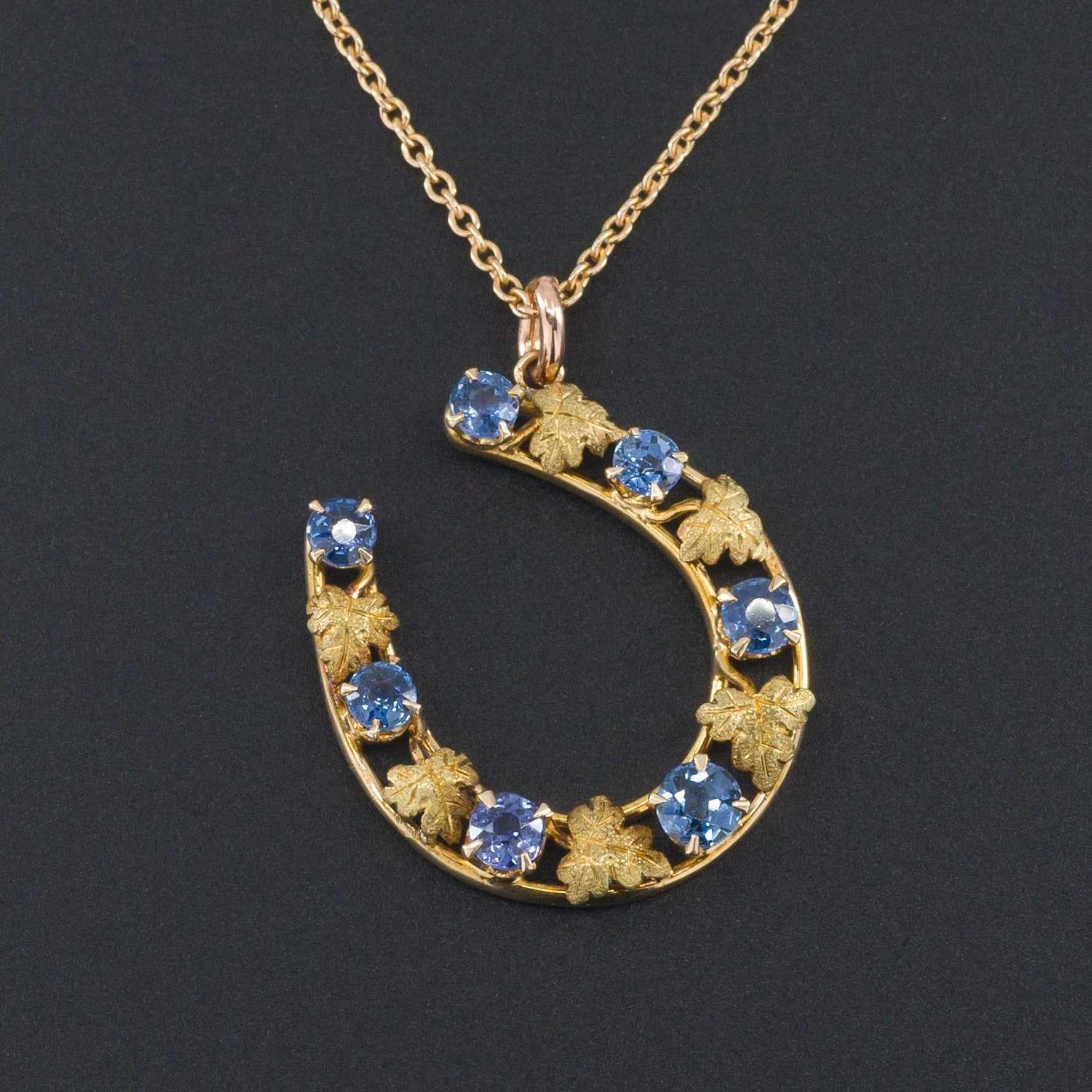 Sapphire Horseshoe Pendant | Antique Pin Conversion-Trademark Antiques