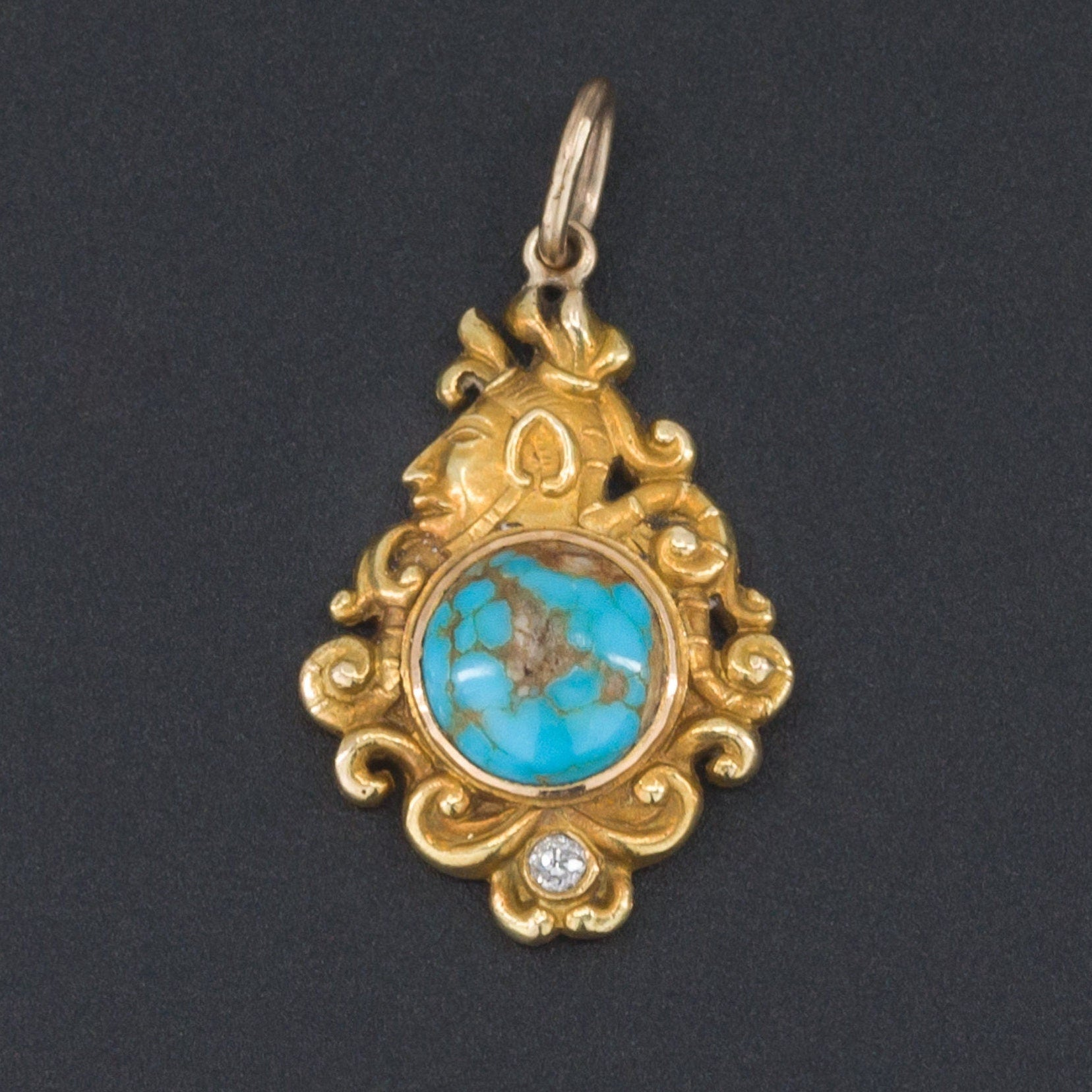 Antique Turquoise Pendant | Antique Pin Conversion | 14k Gold Pendant | Native Pendant with Turquoise & Diamond