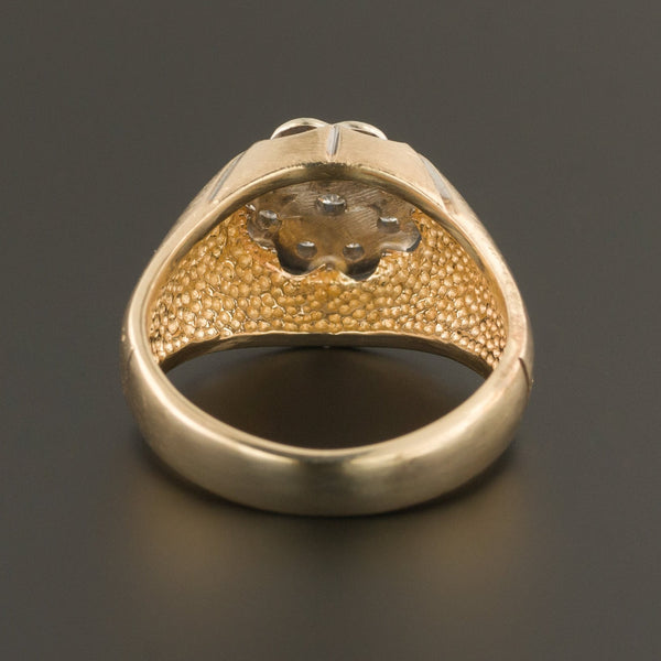 Men's Retro Diamond Ring | 10k Gold Men's Ring-Trademark Antiques