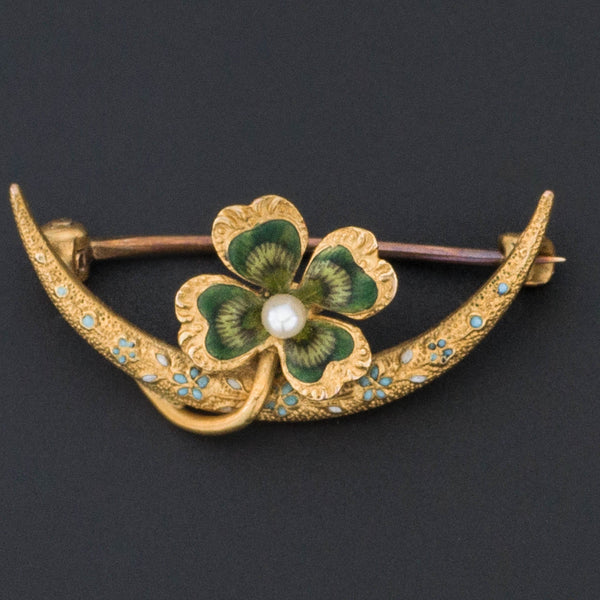 Clover Brooch | 14k Gold & Enamel Clover Pin-Trademark Antiques