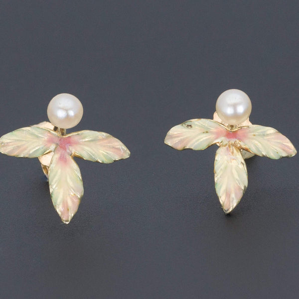 Enamel Leaf Earrings | Antique Pin Conversion-Trademark Antiques