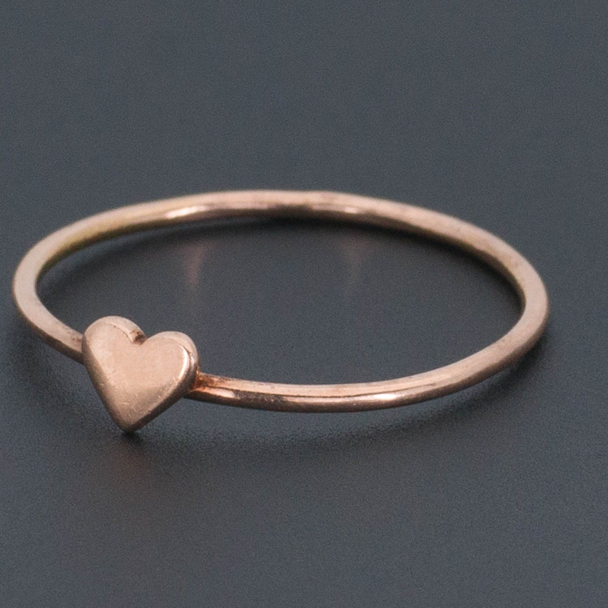 10k Gold Heart Ring | Rose Gold Ring-Trademark Antiques