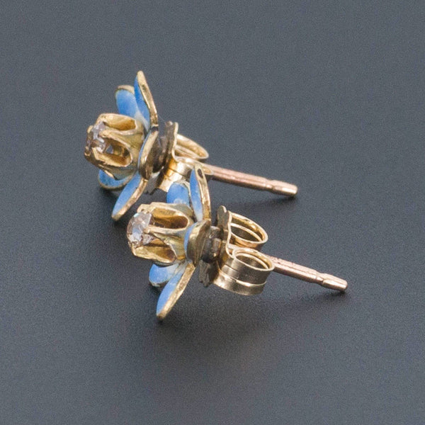 Enamel Flower Earrings | 14k Gold Earrings-Trademark Antiques