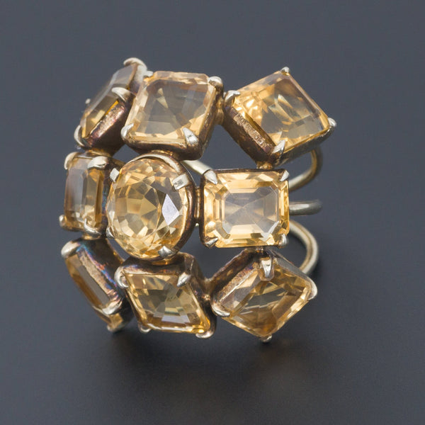 Vintage Citrine Statement Ring | Large Citrine Ring-Trademark Antiques
