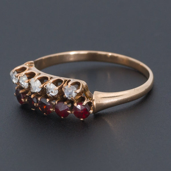 Diamond and Garnet Ring | Antique Ring-Trademark Antiques