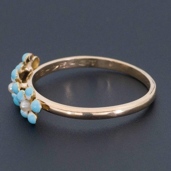 Forget-me-not Flower Ring | Antique Pin Conversion Ring-Trademark Antiques