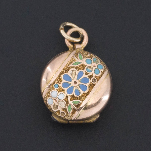 Tiny Locket | 10k Gold & Enamel Locket-Trademark Antiques