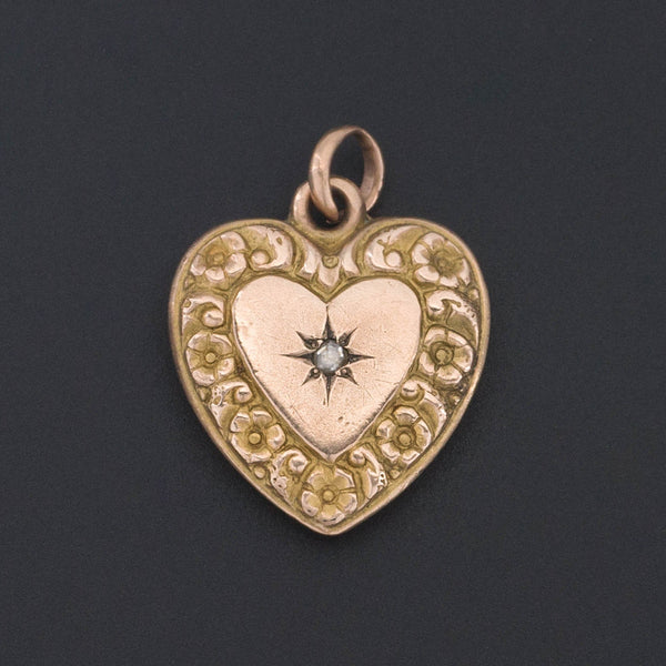 Gold Heart Charm | Antique Diamond Heart Charm or Pendant-Trademark Antiques