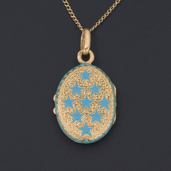 Antique Gold Locket | Blue Enamel Locket-Trademark Antiques