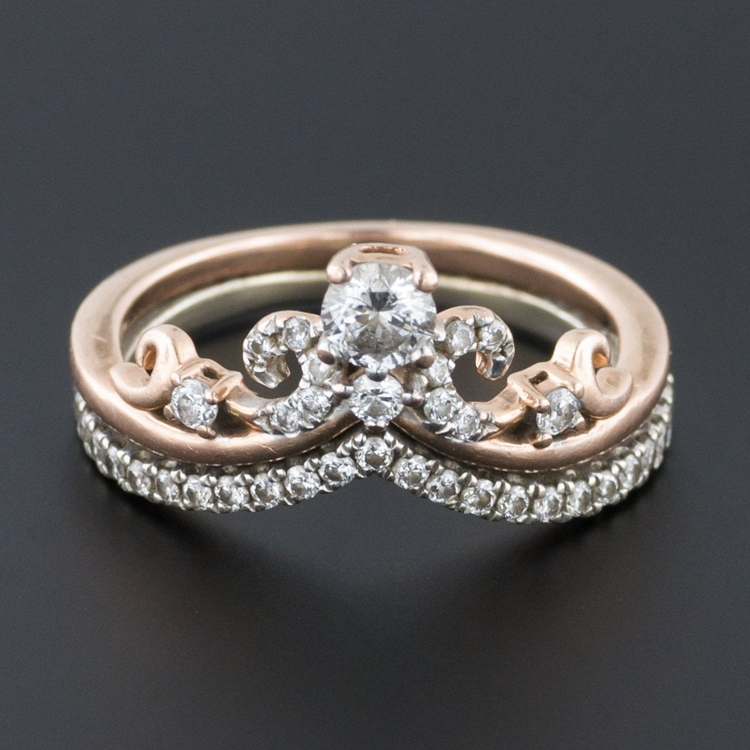 Diamond Tiara Ring | Rose and White Gold Ring | Diamond Ring | Unique Diamond Ring