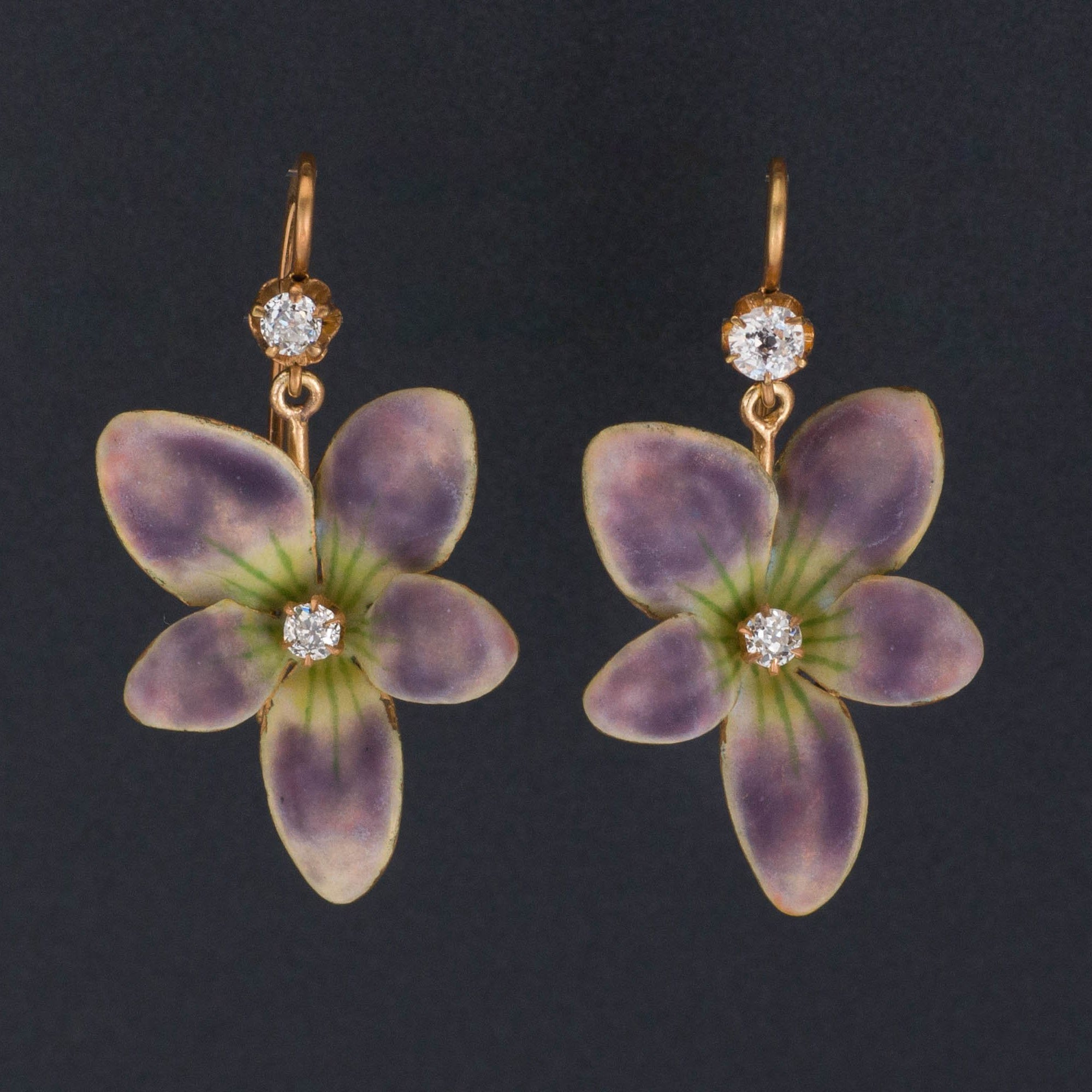 Violet Earrings | 14k Enamel Flower Earrings | Antique Violet Earrings with Diamonds | Antique Pin Conversion Earrings