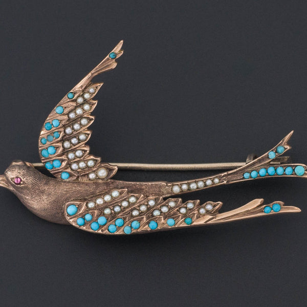 Swallow Brooch | Antique Bird Brooch-Trademark Antiques