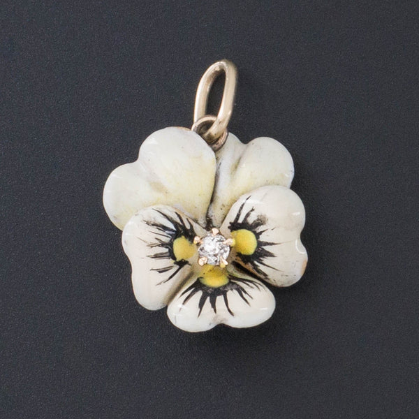 Pansy Charm | Antique Enamel Flower Charm-Trademark Antiques