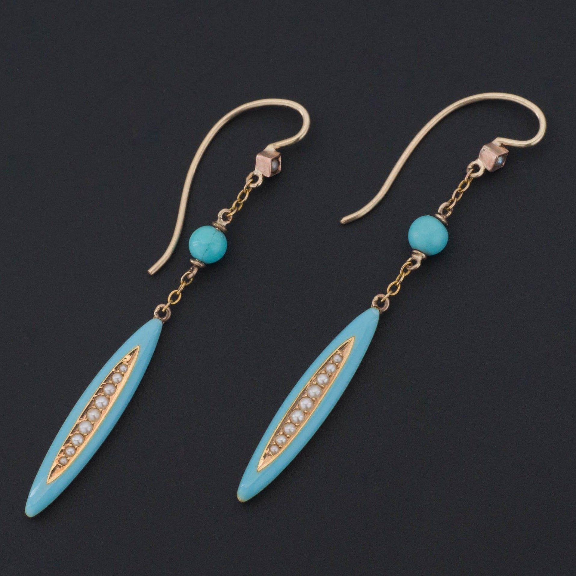 Turquoise Enamel & Pearl Earrings | 14k Gold Earrings | Dangle Earrings | Something Blue Bridal Earrings | Antique Pin Conversion Earrings
