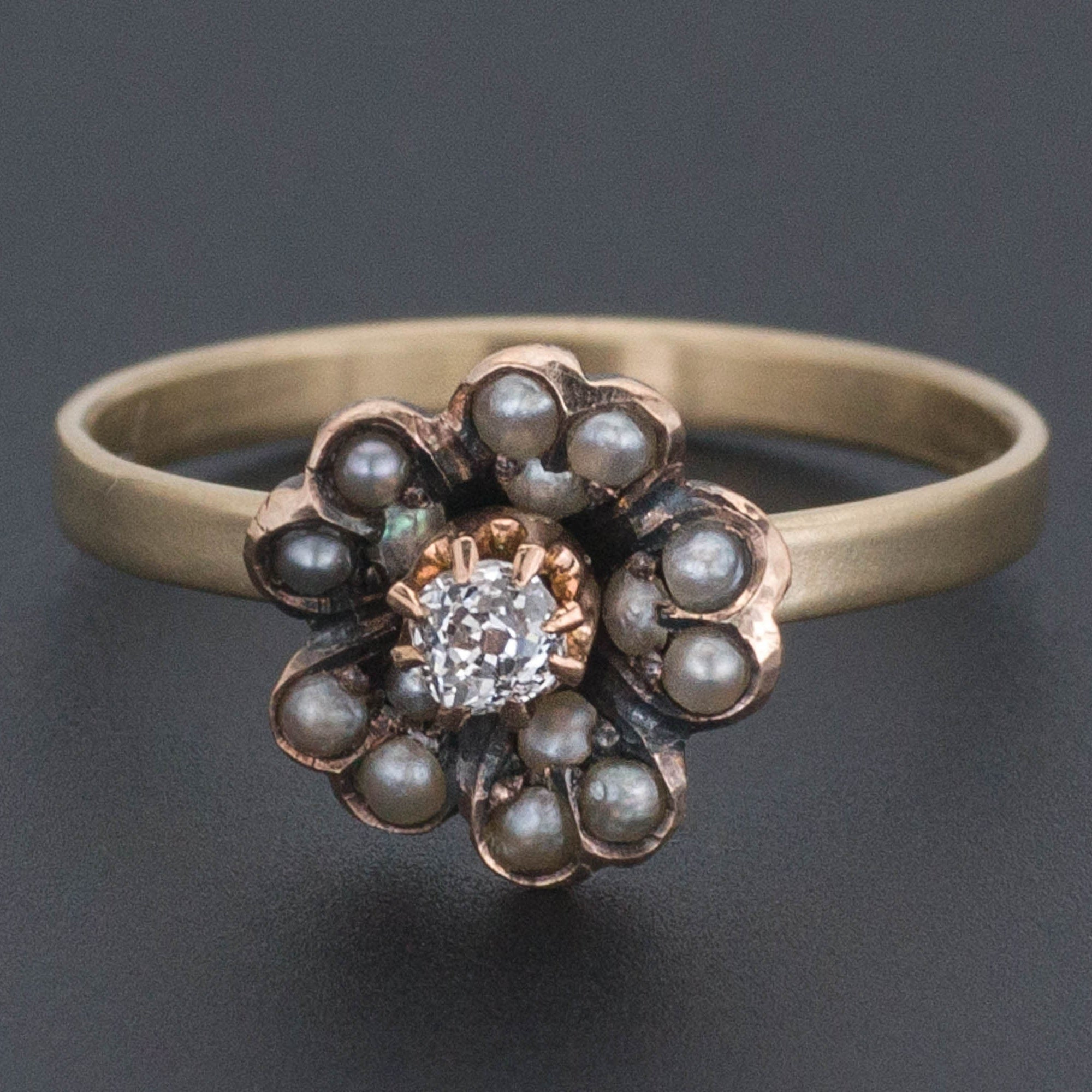Diamond and Pearl Flower Ring | Antique Pin Conversion Ring | Pearl Ring | 14k Gold & Silver Ring