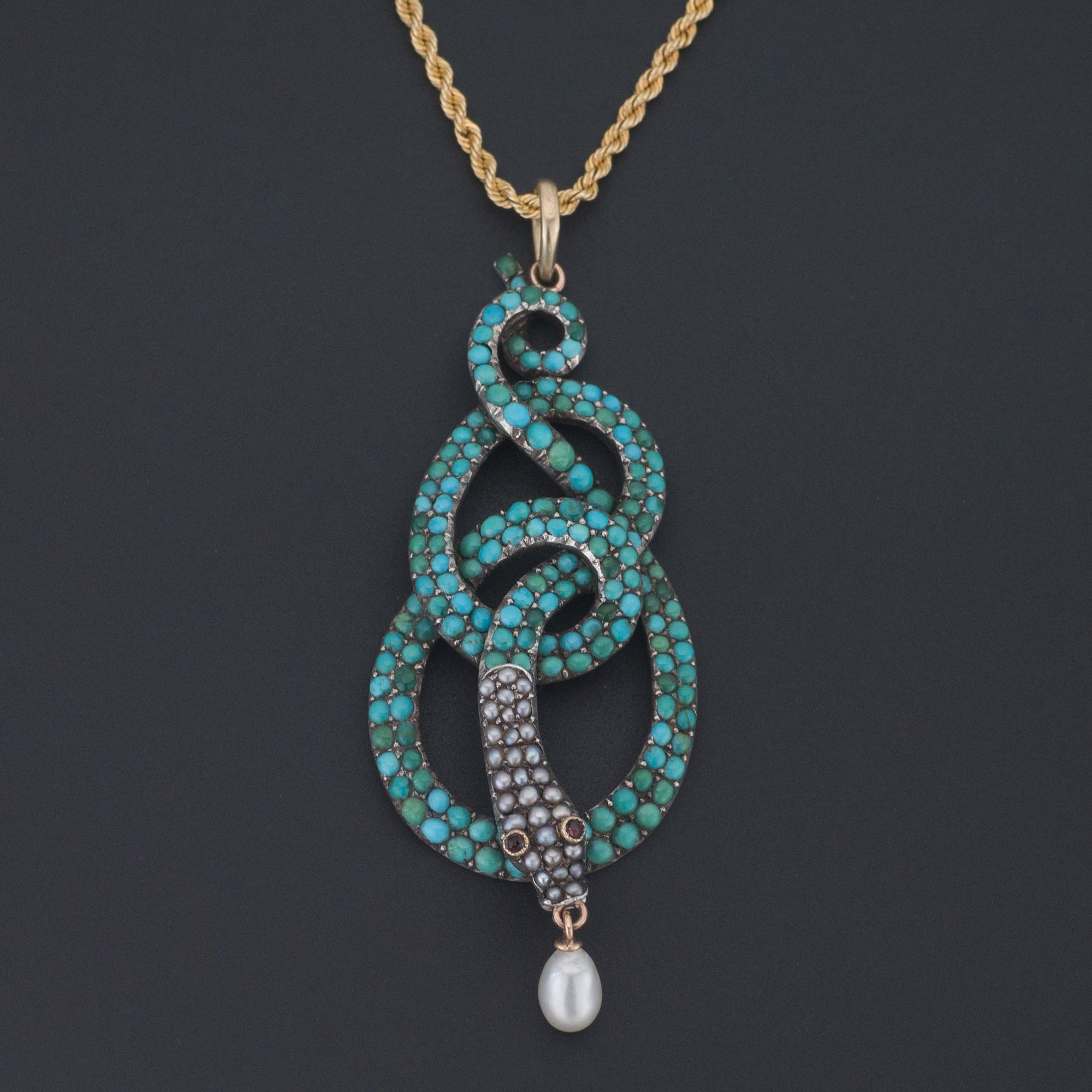 Antique Turquoise Snake Pendant | Antique Pin  Conversion | Antique Silver Snake with Optional 14k Gold Chain | Turquoise Pendant