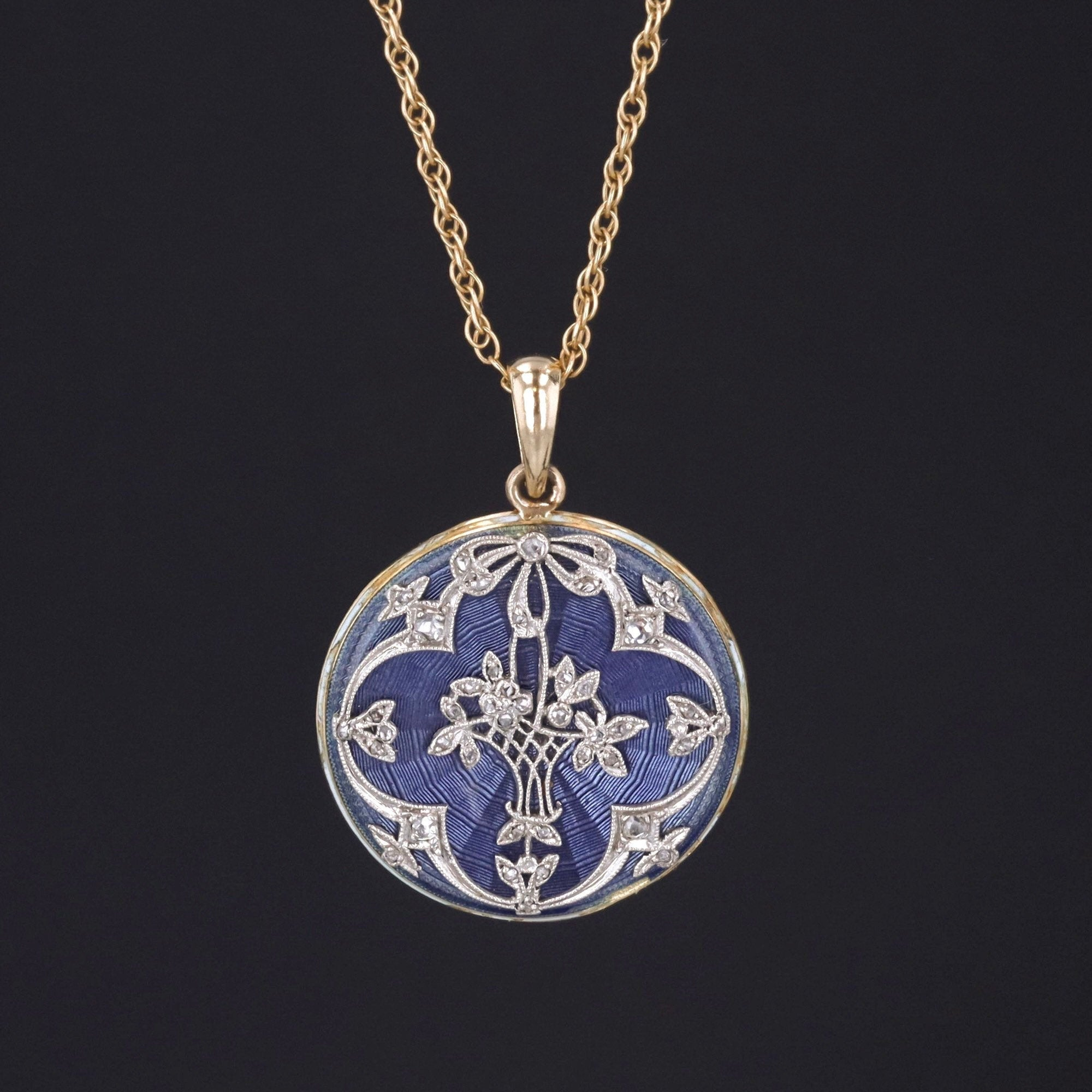 Antique Flower Basket Necklace | Diamond & Enamel Necklace | Antique Pin Conversion | Platinum and 18k Gold