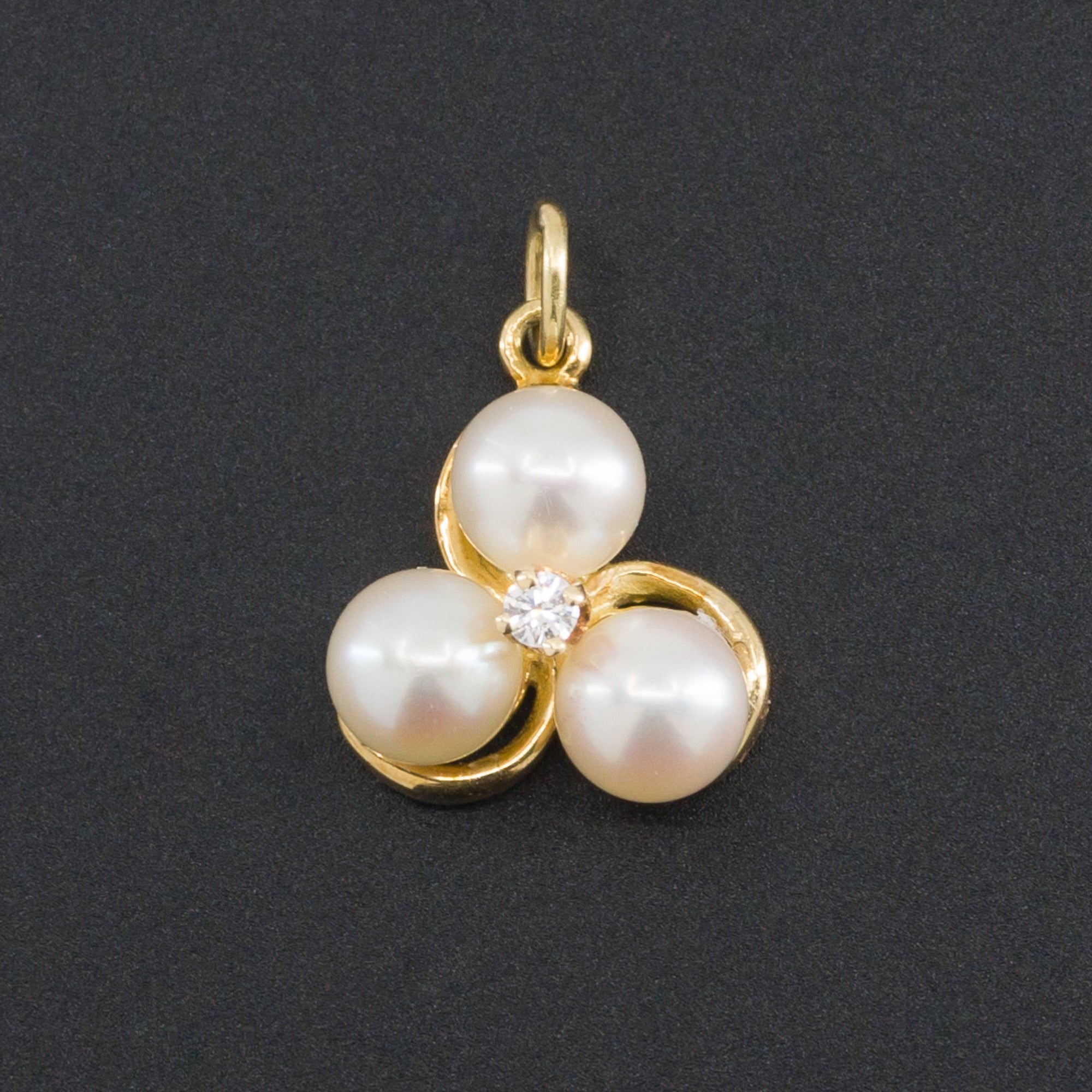 Vintage Pearl & Diamond Charm | Vintage Charm | 18k Pearl and Diamond Pendant