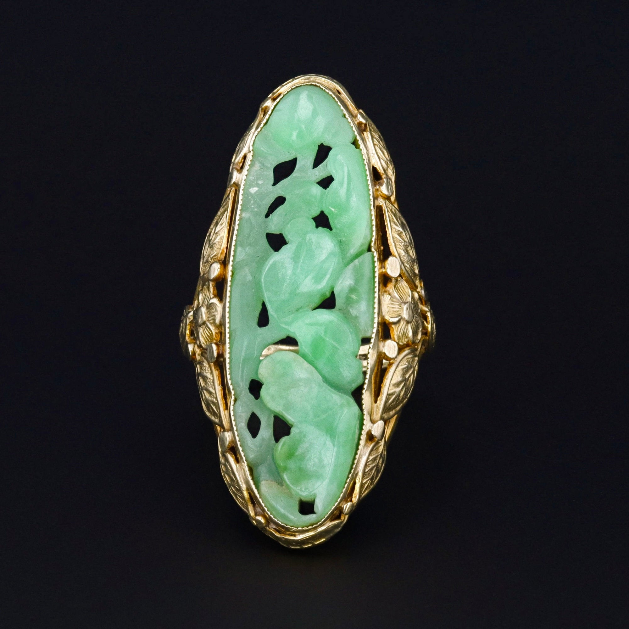 Art Deco Jade Ring | Carved Jade Ring | Vintage Jade Ring | Jade Enamel & Pearl Ring | 14k Gold Ring