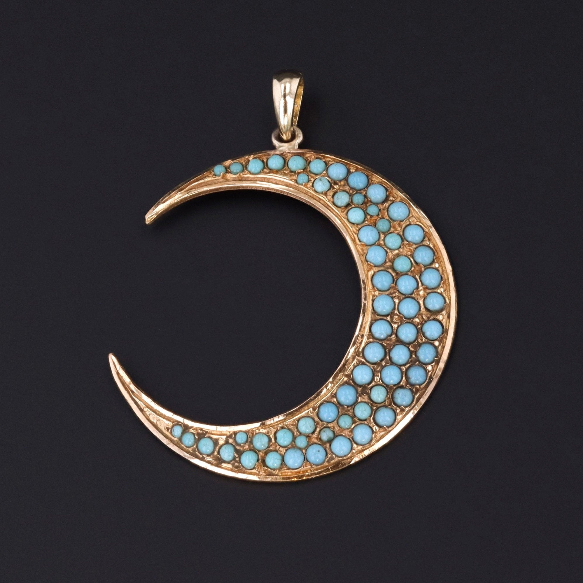 Crescent Moon Pendant | Turquoise Glass Crescent Moon Pendant | Antique Pin Conversion | 14K Gold Pendant | Crescent Moon