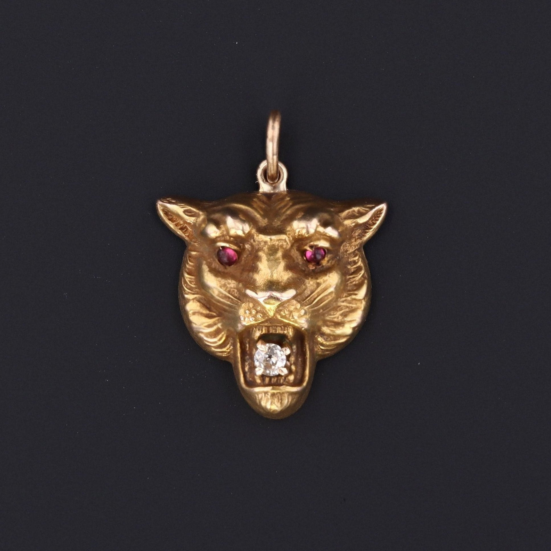 Antique Lion Charm | Pin Conversion | 14k Gold Charm | 14k Gold Lion Charm with Diamond
