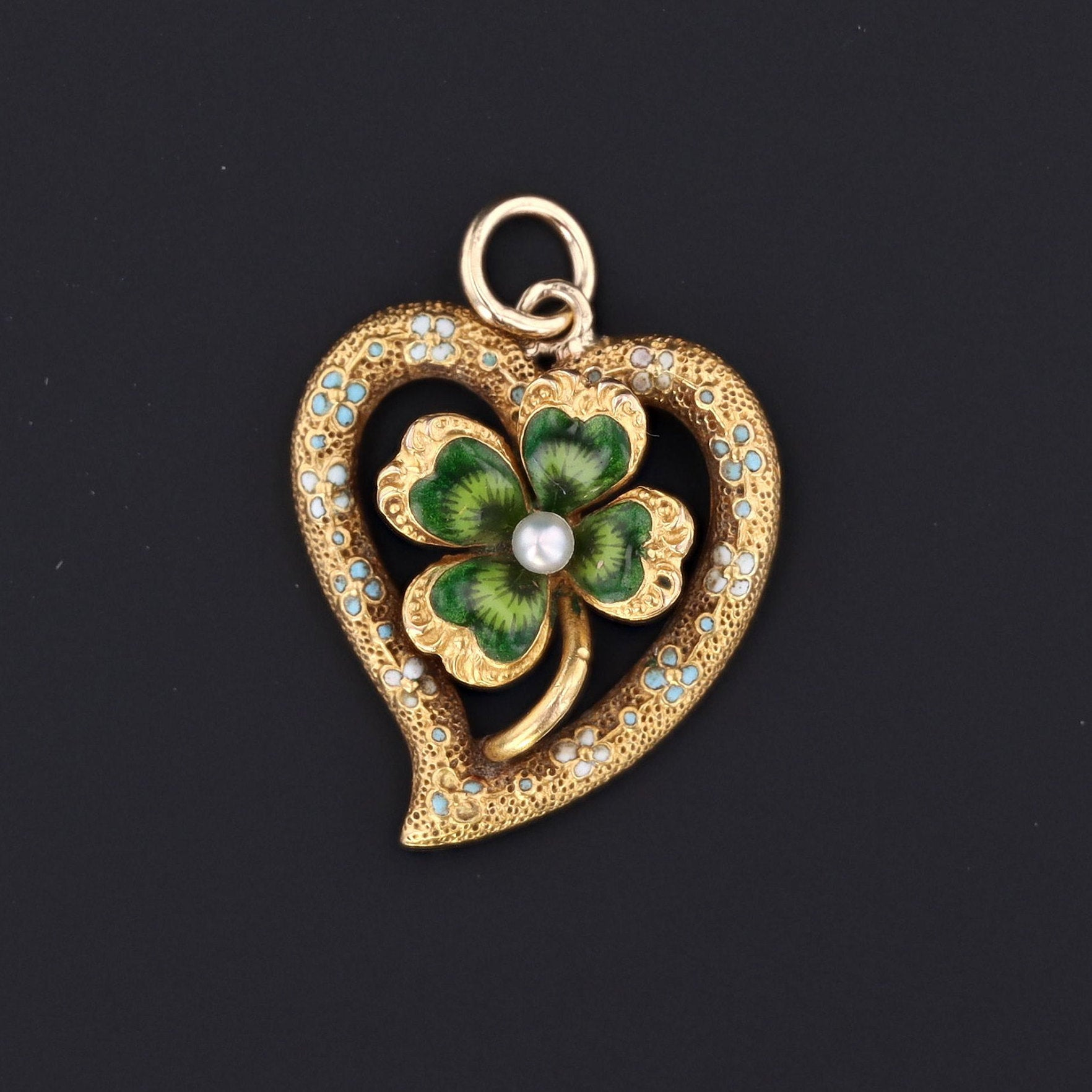 Four Leaf Clover Pendant | Enamel Clover Pendant | Heart Pendant | 14k Gold Pendant | Antique Pin Conversion