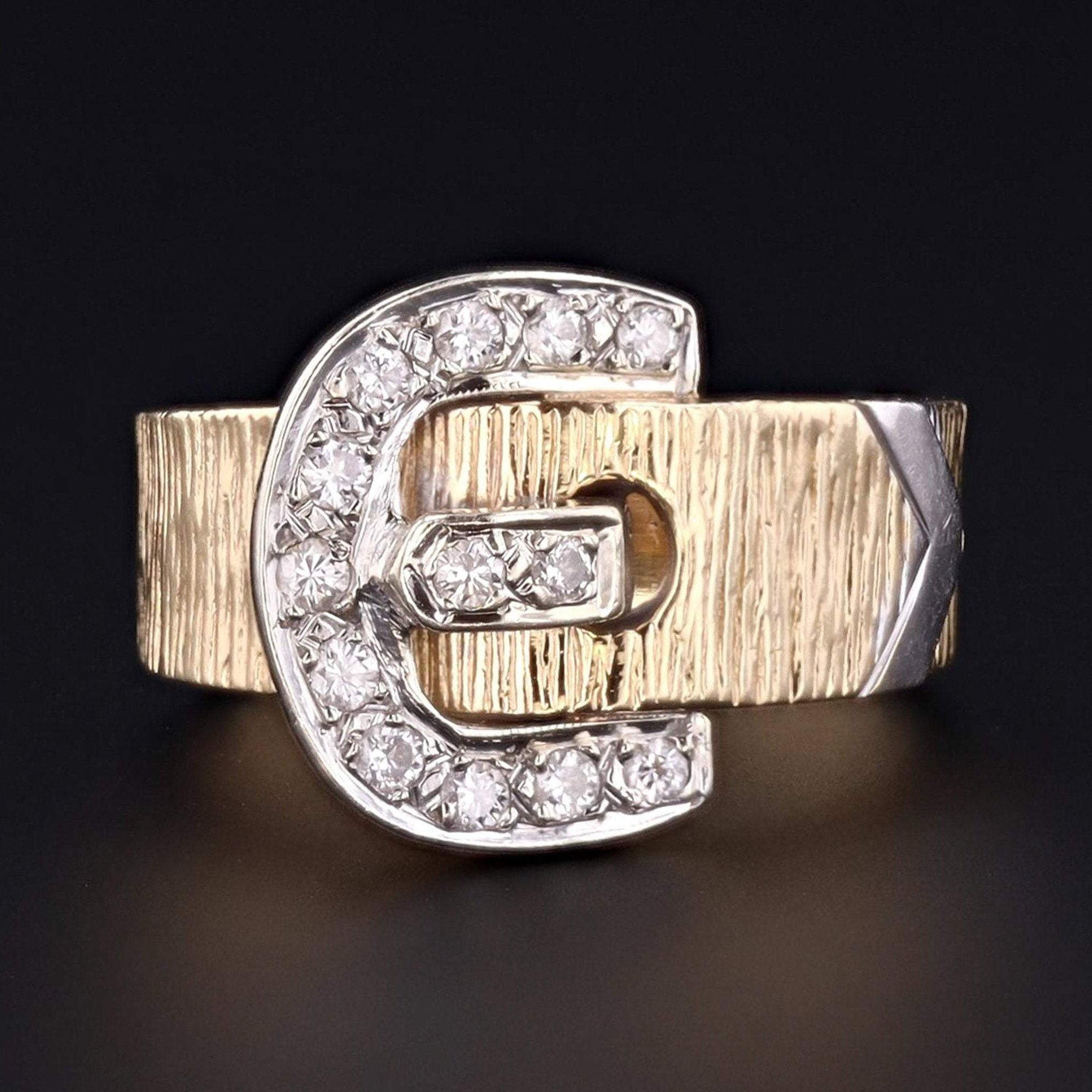 Vintage Buckle Ring | 14k Gold Buckle Ring | 14k Gold & Diamond Buckle Ring