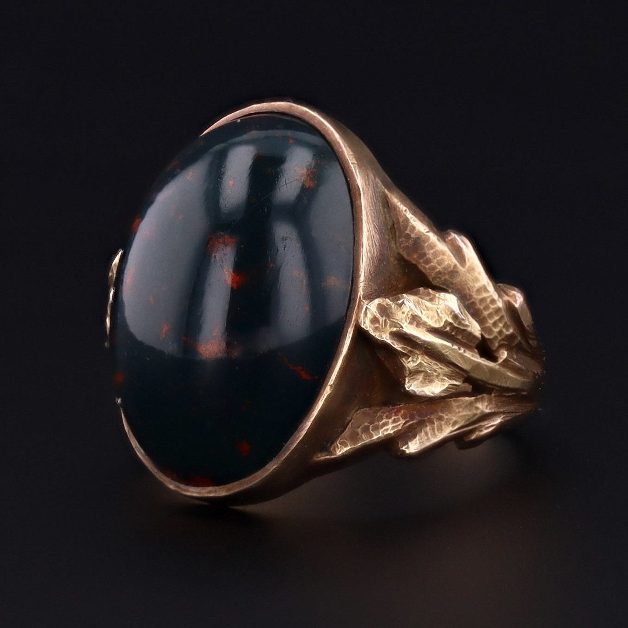Bloodstone Ring | Antique Bloodstone Ring | 14k Gold Ring | Statement Ring |
