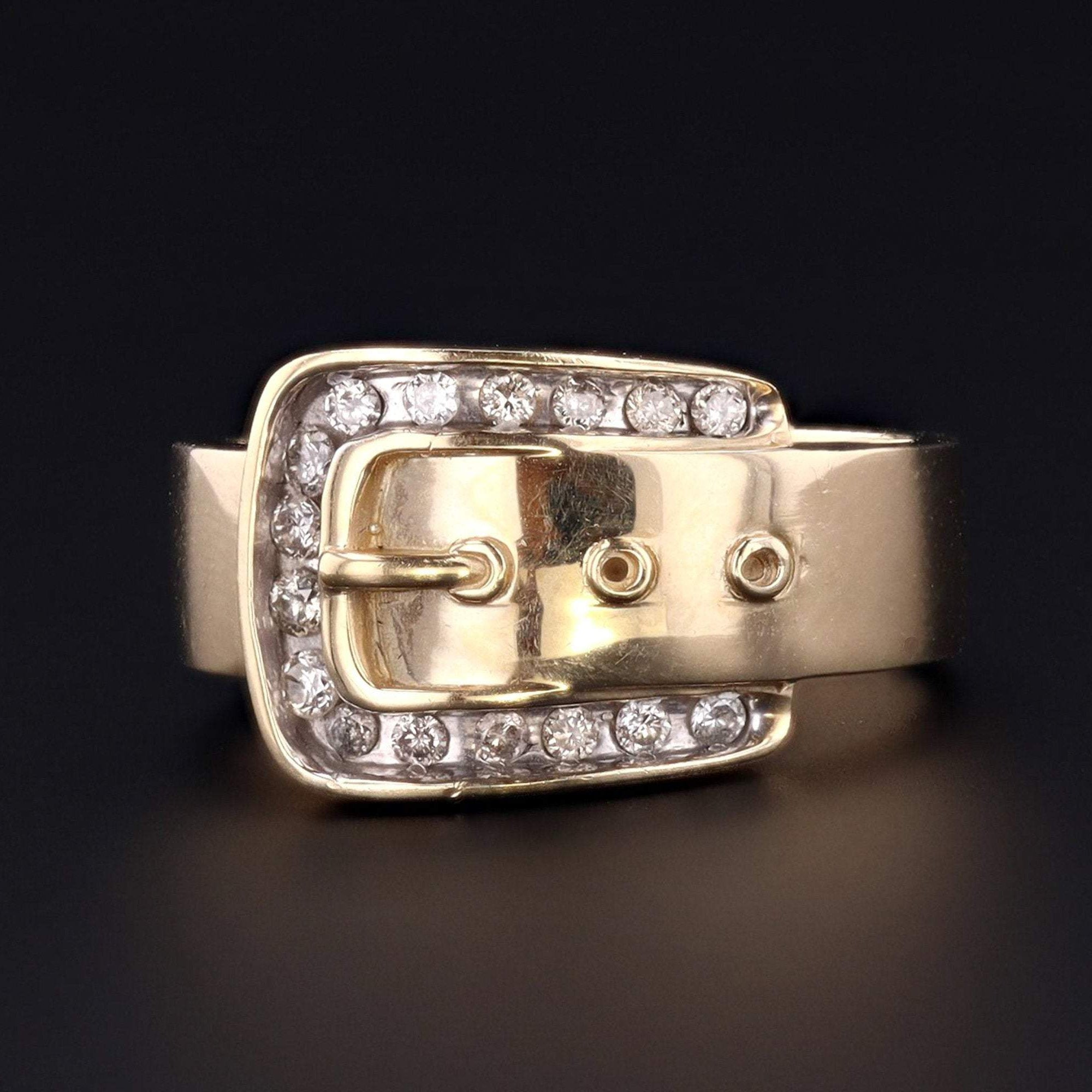 Vintage Buckle Ring | 10k Gold Buckle Ring | 10k Gold & Diamond Buckle Ring