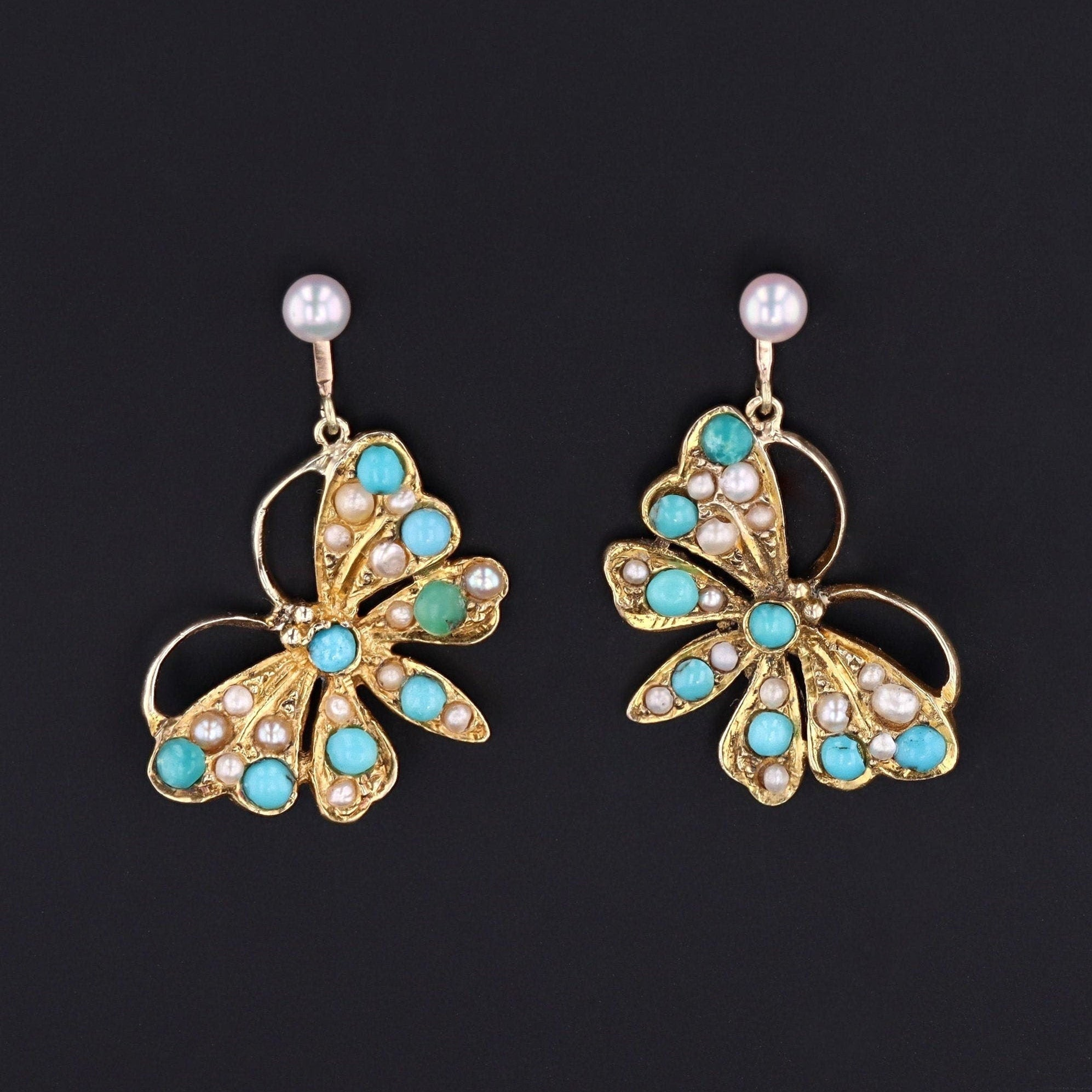 Butterfly Earrings | Antique Pin Conversion Earrings | Turquoise & Pearl Earrings | 14k Gold Earrings | Dangle Earrings | Bridal Earrings