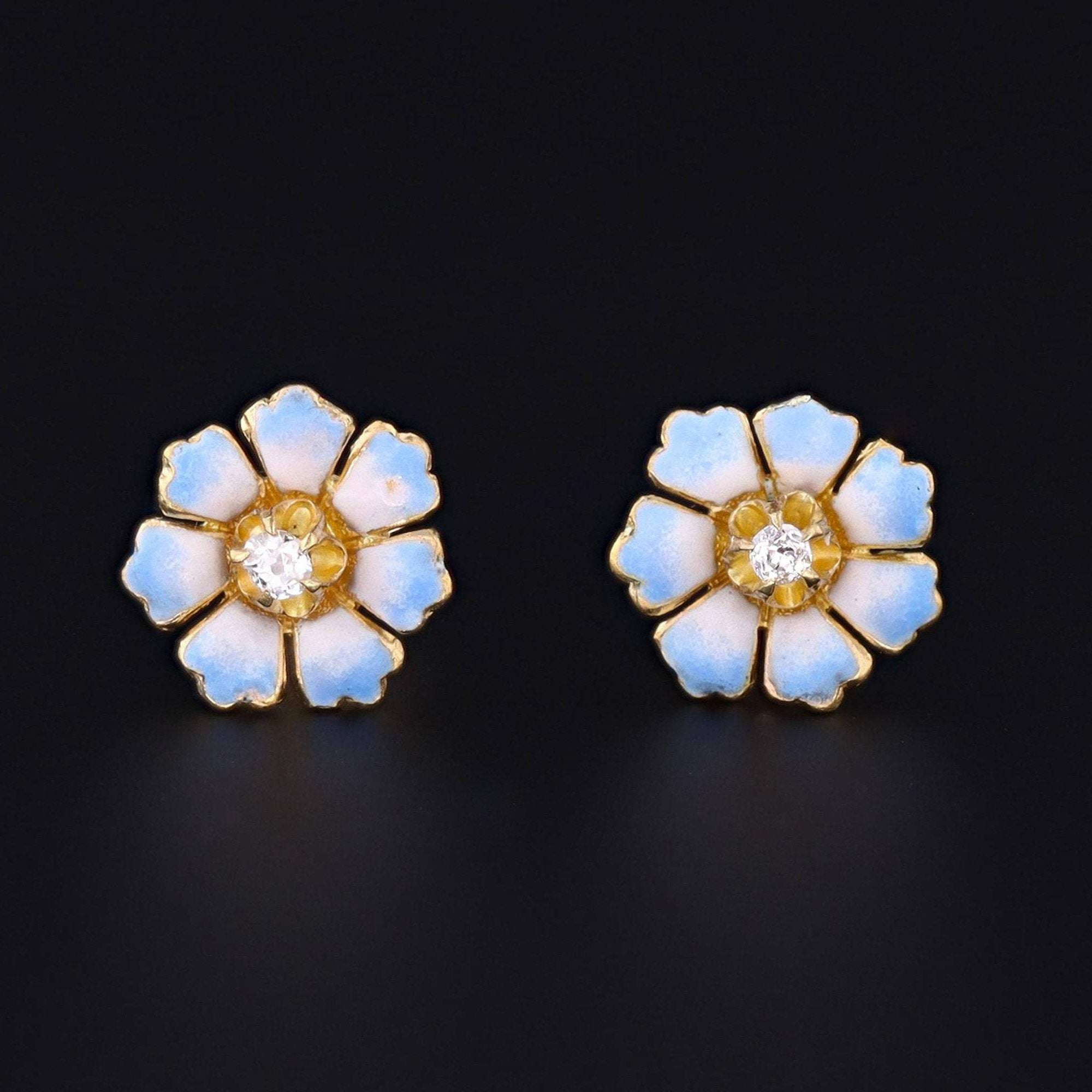 Enamel Flower Earrings | 14k Gold Earrings | Diamond Flower Earrings