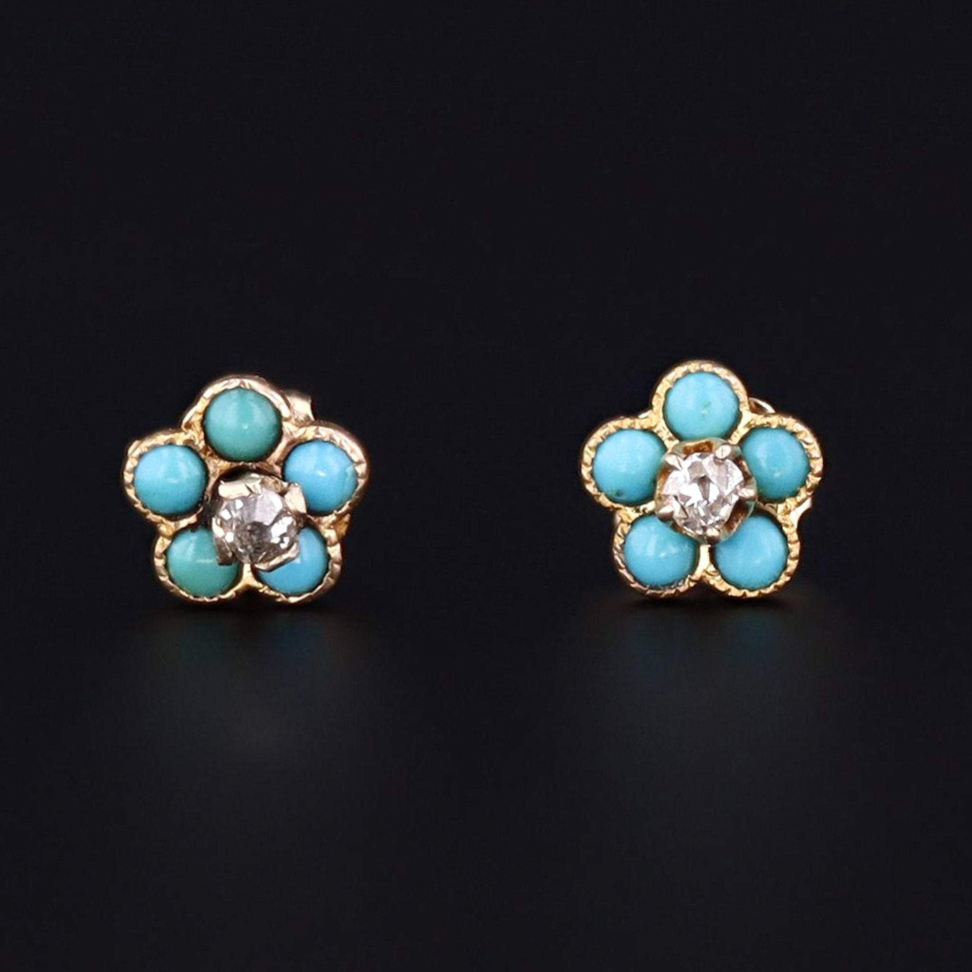 Turquoise & Diamond Flower Earrings | 14k Gold Earrings | Antique Pin Conversion Earrings | Forget-me-not Flower Earrings