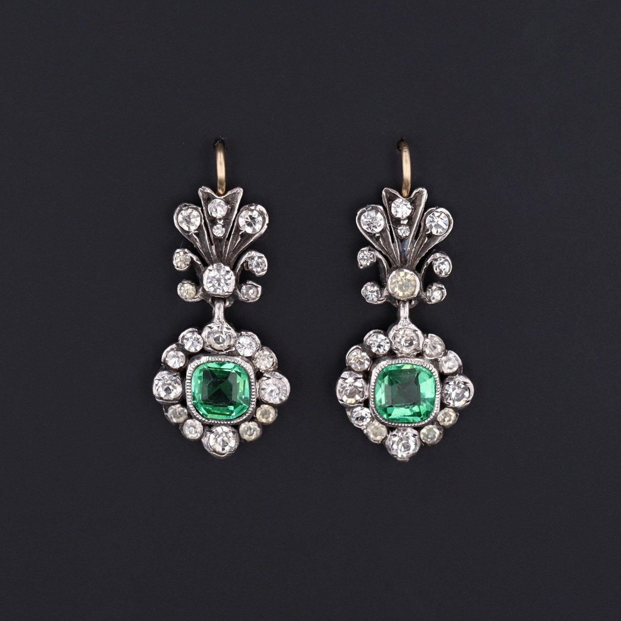 Antique Green and Clear Paste Earrings | 14k Gold & Silver Earrings | Bracelet Conversion Earrings | Antique Paste
