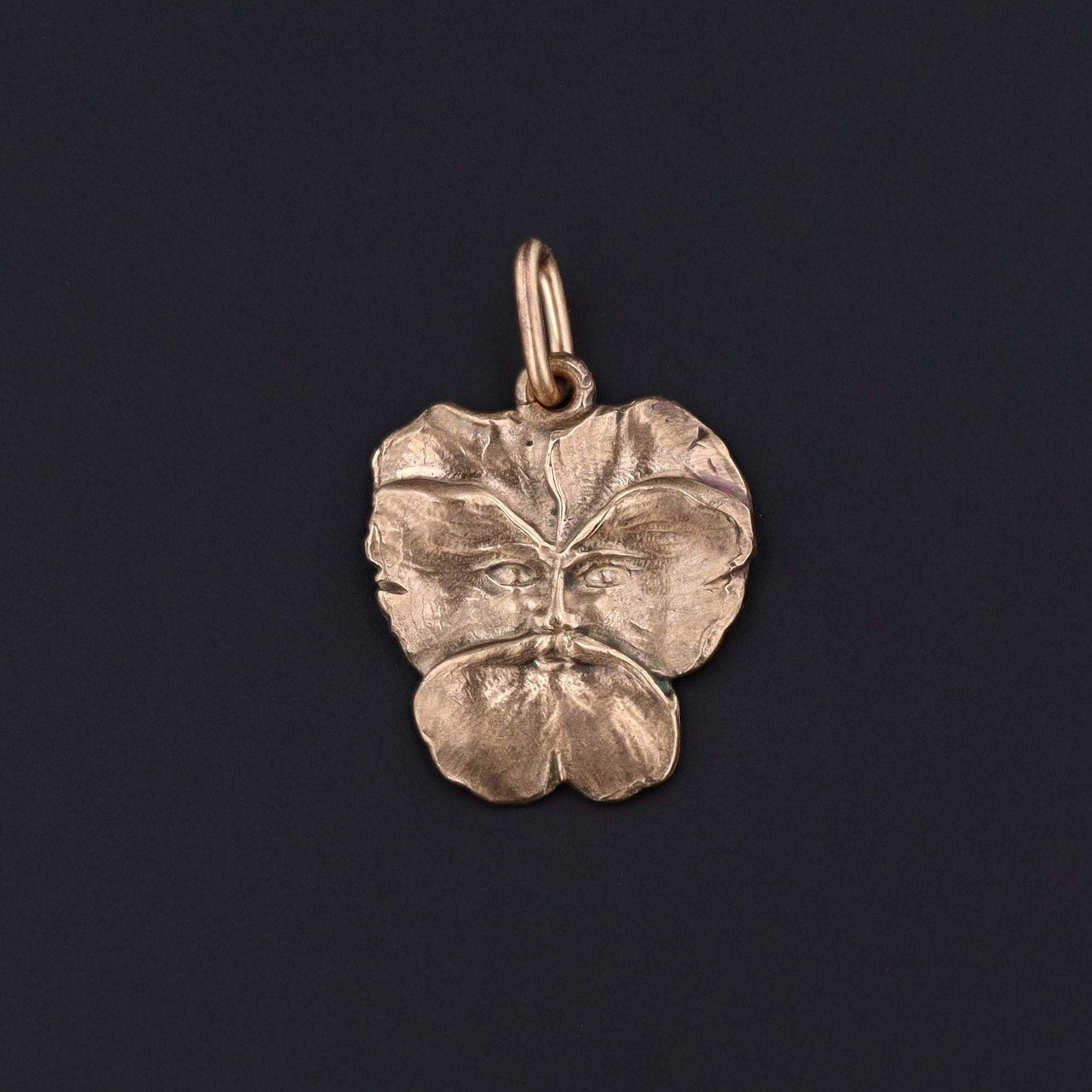 Pansy Man Charm | Green Man Charm | 14k Gold Charm | Art Nouveau Style Charm | Antique Reproduction