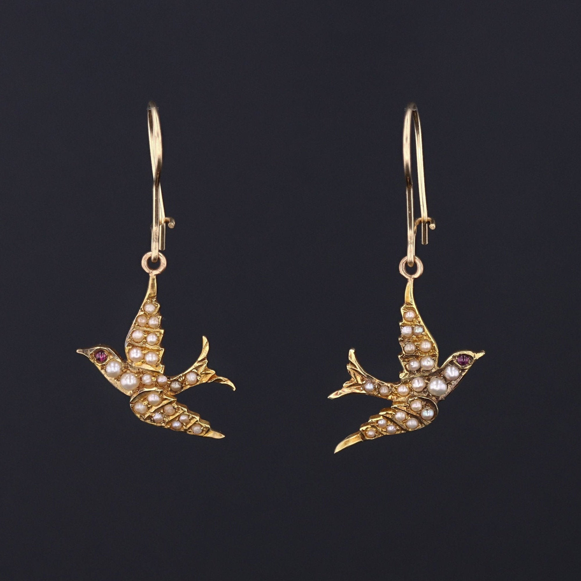 Pearl Swallow Earrings | 14k Gold Swallow Bird Earrings | Antique Pin Conversion Earrings | Dangle Earrings | Bridal Earrings