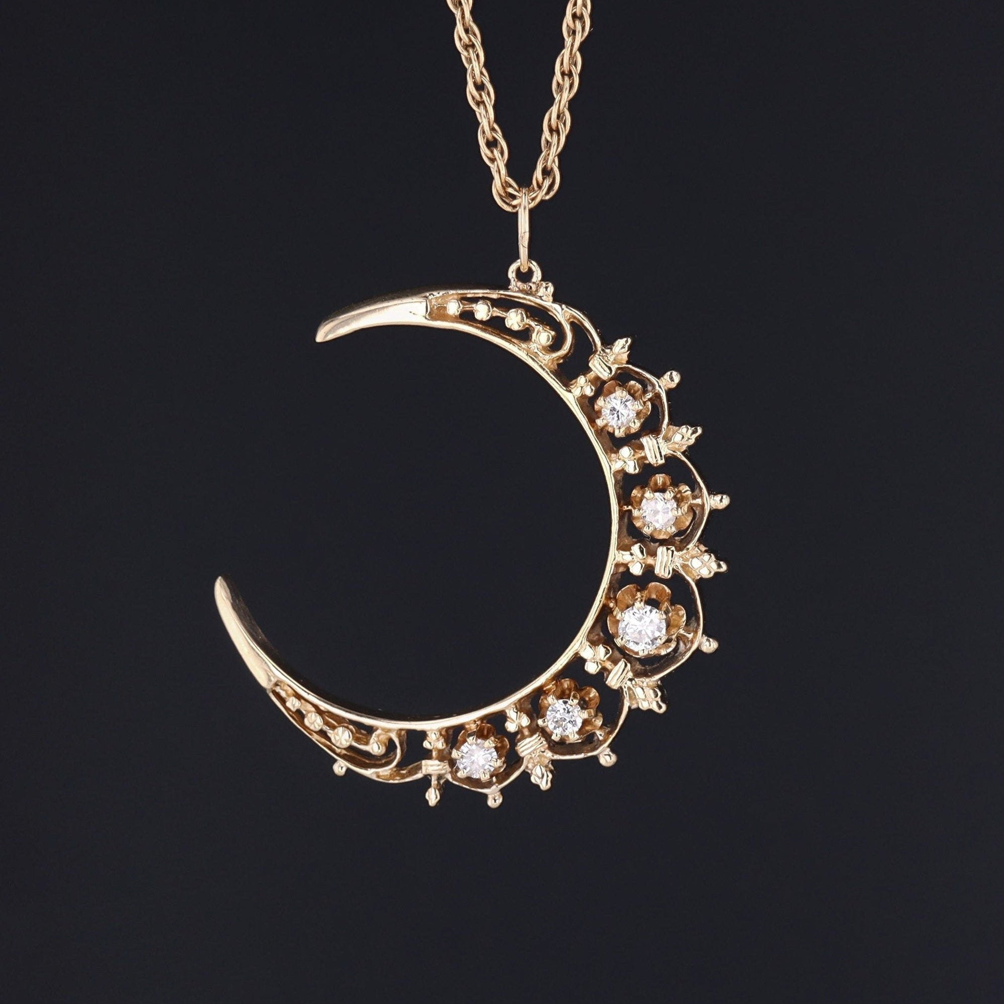 Vintage Diamond Crescent Moon Pendant | Vintage Diamond Moon | 14K Gold Pendant on Optional 14k Chain | Pin Conversion