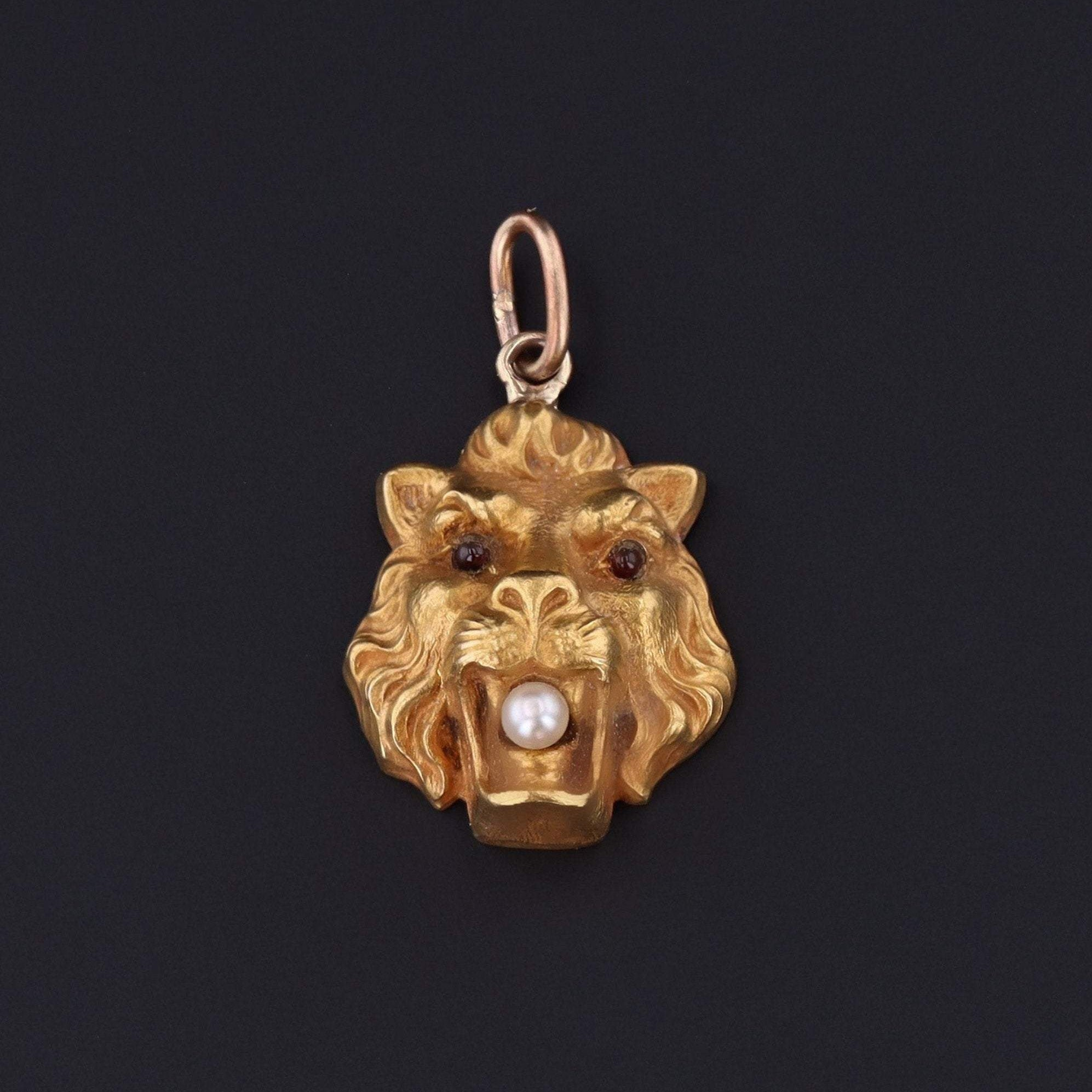 Antique Lion Charm | Pin Conversion | 14k Gold Charm | 14k Gold Lion Charm with Pearl