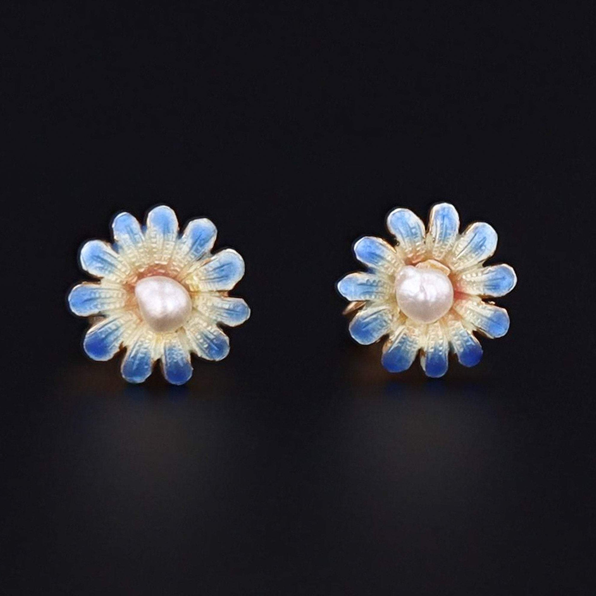 Enamel Flower Earrings | 14k Gold Earrings | Blue Daisy Earrings | Vintage Pin Conversion Earrings
