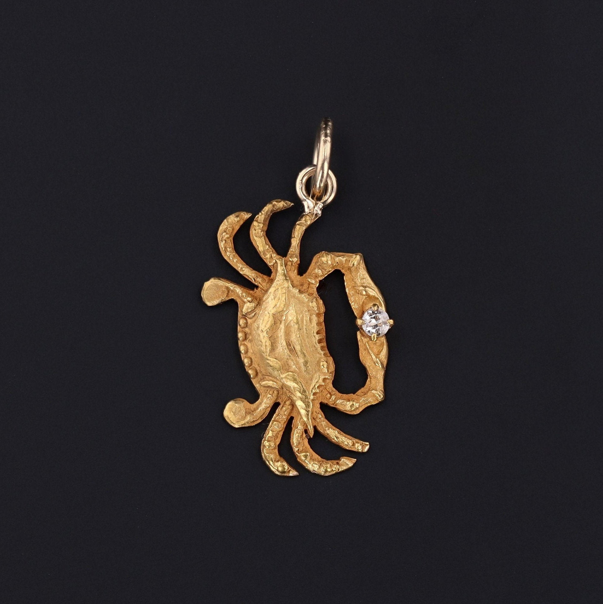 Crab Charm | 14k Gold Crab | Diamond Crab Charm | Antique Pin Conversion | Cancer Zodiac Charm | Gold Charm