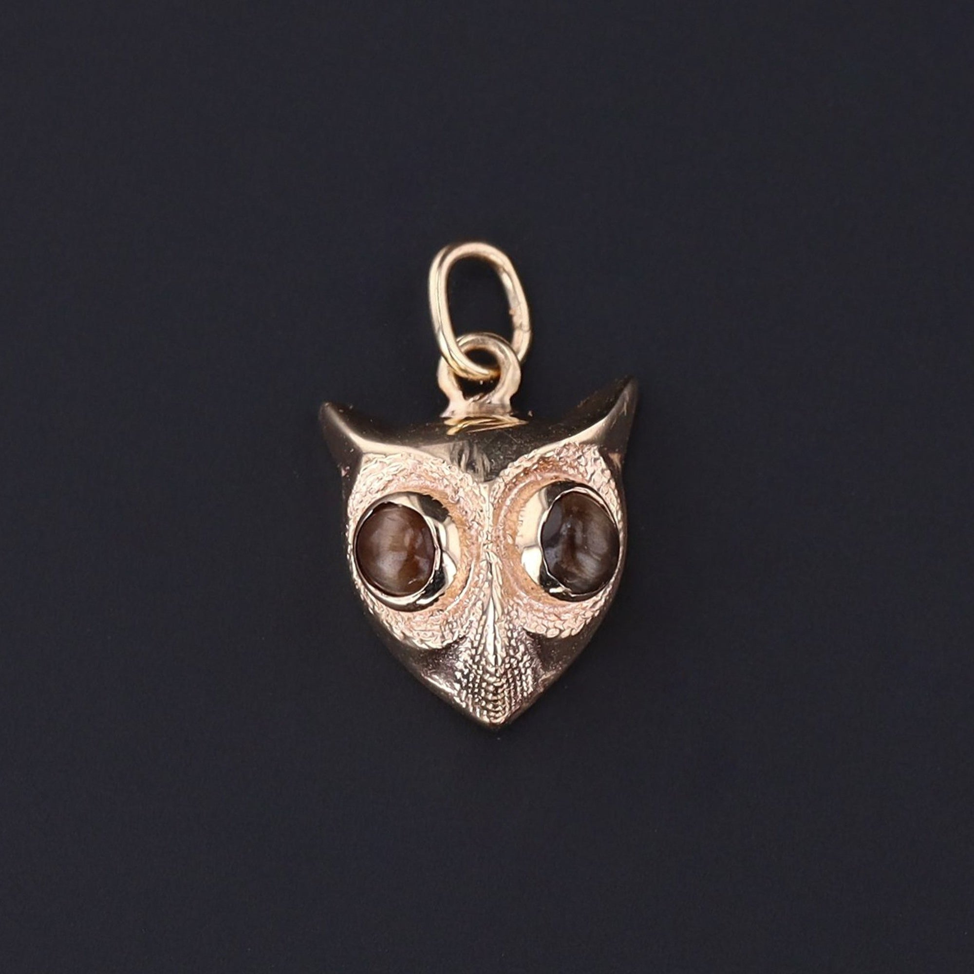 Owl Charm | 14k Gold Owl Charm | Owl with Cats Eye Chrysoberyl | 14k Gold Charm | Antique Pin Conversion