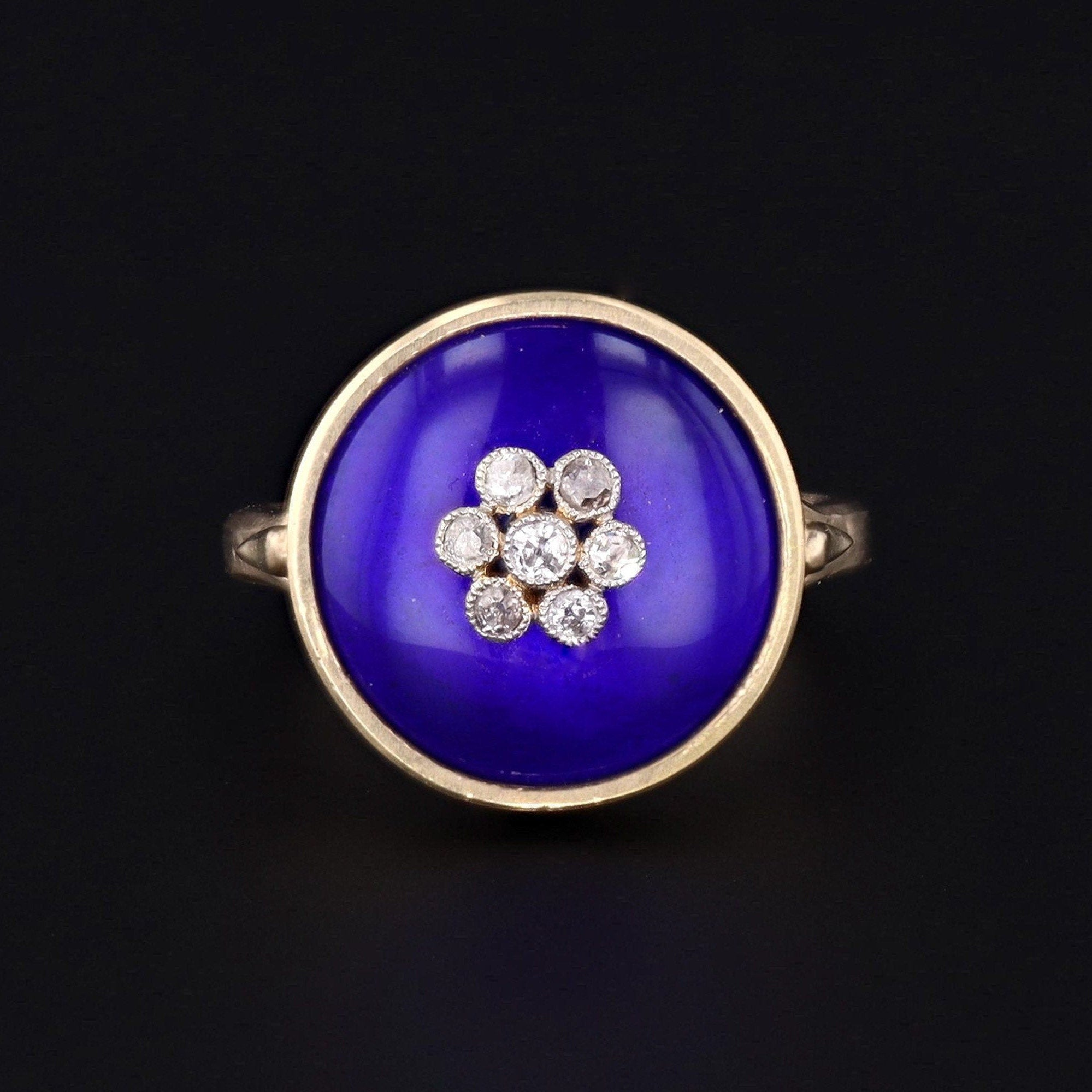 Cobalt Blue Enamel & Diamond Ring | Antique Pin Conversion Ring | 14k Gold Ring | Flower Ring